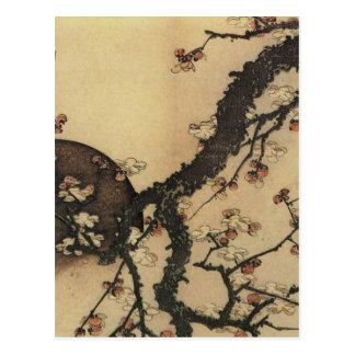 Lune et fleurs carte postale