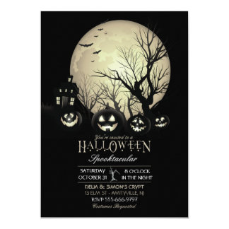 Lune foncée éffrayante Jack-o'-lantern de Carton D'invitation 12,7 Cm X 17,78 Cm