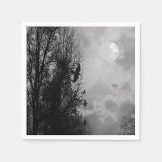 Lune hantée avec la serviette de Ravens Halloween Serviettes Jetables