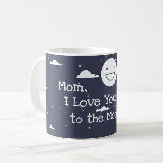 Lune heureuse je t'aime dans la tasse de café de