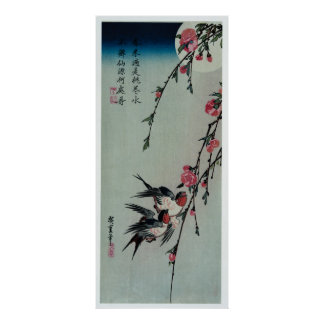 Lune, hirondelles, et fleurs de pêche par posters