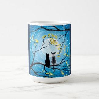 Lune lunatique avec des chats mug