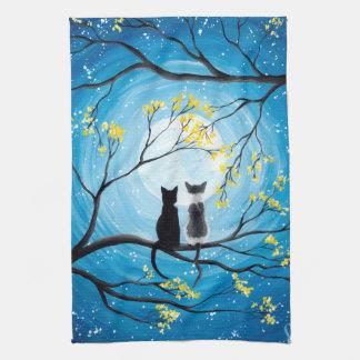 Lune lunatique avec des chats serviettes pour les mains