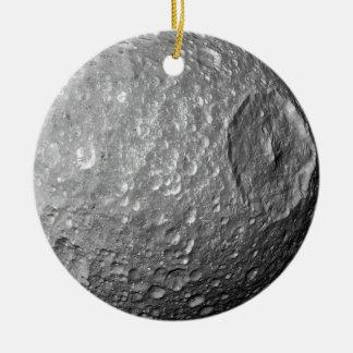 Lune Mimas de Saturn Ornement Rond En Céramique