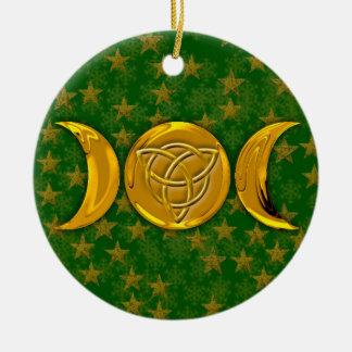 Lune triple et Tri-Quatra #3 Ornement Rond En Céramique