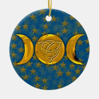 Lune triple et Tri-Quatra #5 Ornement Rond En Céramique