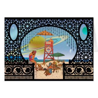 Lunes de voyage interplanétaire de la salutation carte de vœux