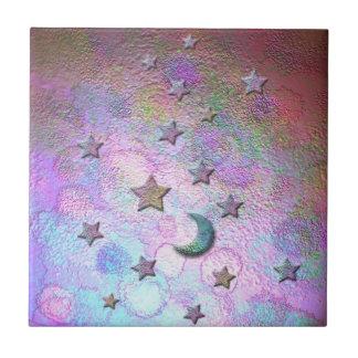 Lunes mystiques et étoiles métalliques en pastel petit carreau carré