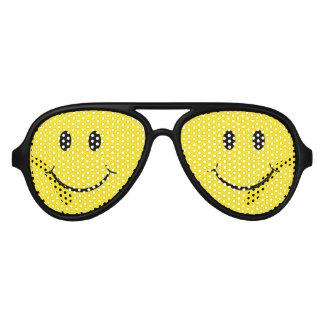 Lunettes De Fête Aviateur Visage heureux souriant jaune des années 70
