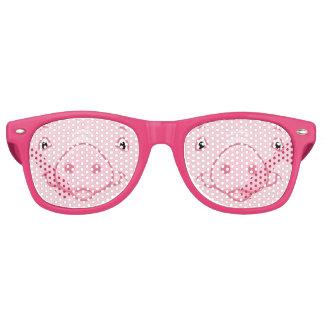 Lunettes De Fête Retro Visage rose heureux mignon de porc