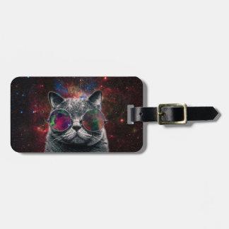 Lunettes de port de chat de l'espace devant la étiquette pour bagages