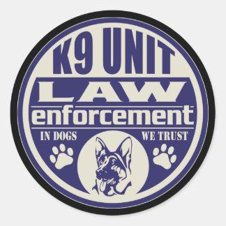 L'unité K9 chez les chiens nous faisons confiance Sticker Rond