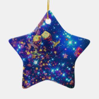 L'univers et les planètes célèbrent la vie avec un ornement étoile en céramique
