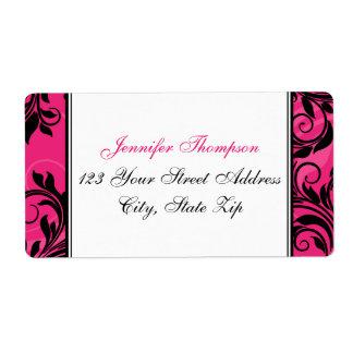 Lustre blanc noir rose, étiquette de adresse de