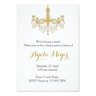 Lustre de chauffage d'or d'invitation de partie de carton d'invitation  12,7 cm x 17,78 cm