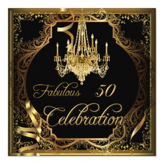 Lustre fabuleux de noir d'or de 50 célébrations carton d'invitation  13,33 cm