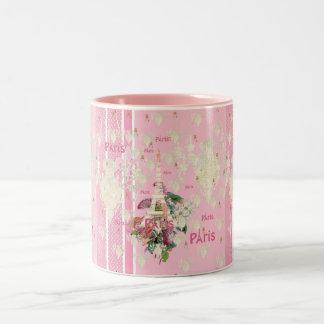 Lustre rose élégant vintage de Tour Eiffel de Pari Mug Bicolore