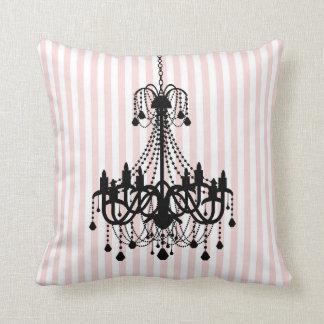 Lustre vintage et motif rose de rayures coussin décoratif