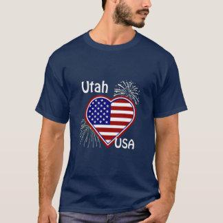L'Utah T-shirt de marine de drapeau de coeur de