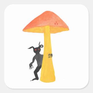 Lutin de champignon sticker carré