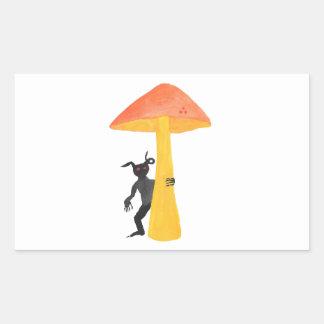 Lutin de champignon sticker rectangulaire