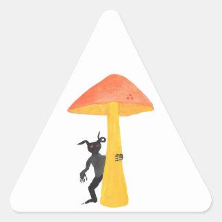 Lutin de champignon sticker triangulaire
