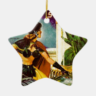 Lutin derrière le verre ornement étoile en céramique