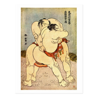 Lutteurs de sumo de Hokusai Carte Postale