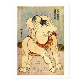 Lutteurs de sumo de Hokusai Cartes Postales