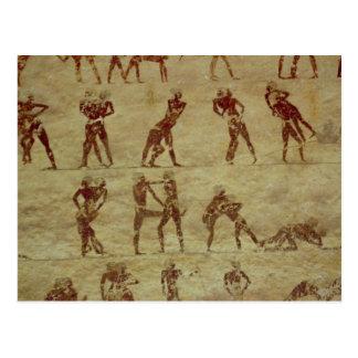 Lutteurs, détail d'une peinture de mur de tombe carte postale