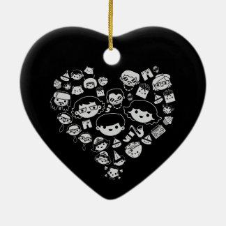 Luv 2 ornement cœur en céramique