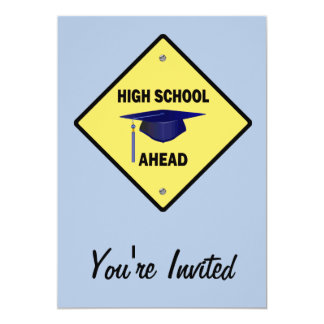 Lycée de route d'obtention du diplôme jaune de carton d'invitation  12,7 cm x 17,78 cm