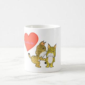 Lynx mignons dans l'amour tasse à café