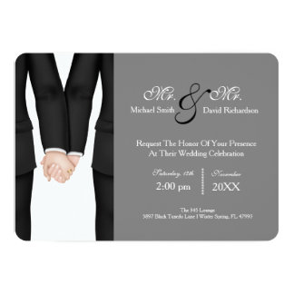 M. chic et M. Tuxedo Couple Wedding Celebration Carton D'invitation 12,7 Cm X 17,78 Cm