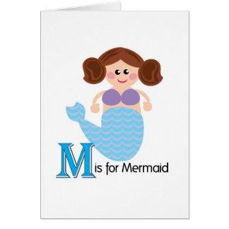 M est pour la carte de voeux adorable de lettres