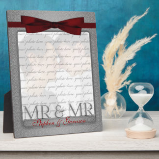 M. et M. Gay Wedding Photo Frame en argent Impression Sur Plaque