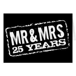 M. et Mme 25èmes cartes d'anniversaire de mariage