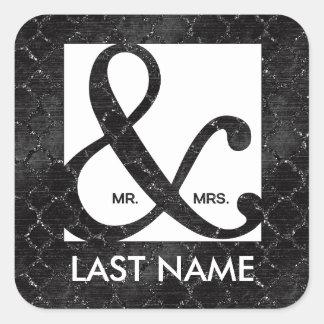 M. et Mme Ampersand Black Glitter Sticker Sticker Carré