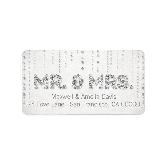 M. et Mme argentés Labels de regard de parties Étiquette D'adresse