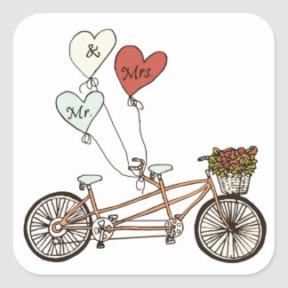 M. et Mme autocollant de vélo d'amour