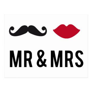 M et Mme avec la moustache et les lèvres rouges Carte Postale