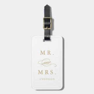 M. et Mme dans l'étiquette de bagage de l'or | Étiquette Pour Bagages