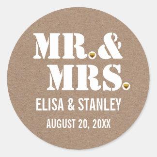 M. et Mme économies de mariage de papier Sticker Rond