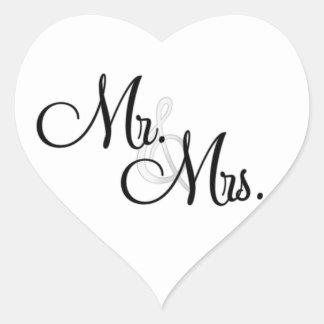 M. et Mme ENVELOPE et AUTOCOLLANTS de coeur de