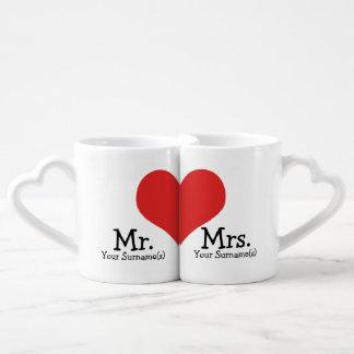 M. et Mme Newly Wednesday Heart Wedding Mugs Amoureux