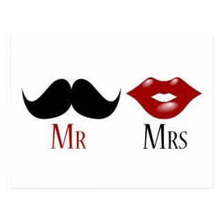 M et Mme noirs de moustache de guidon Carte Postale