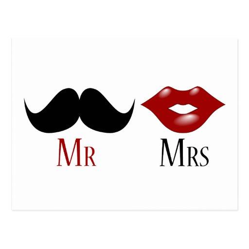 M. et Mme noirs de moustache de guidon Carte Postale