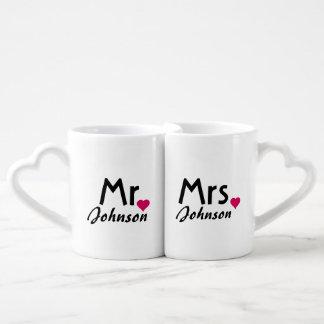 M. et Mme nommés personnalisés ensemble de tasse