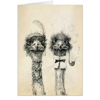 M. et Mme Ostrich Carte De Vœux