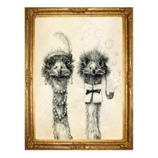 M et Mme Ostrich encadrée Carte Postale